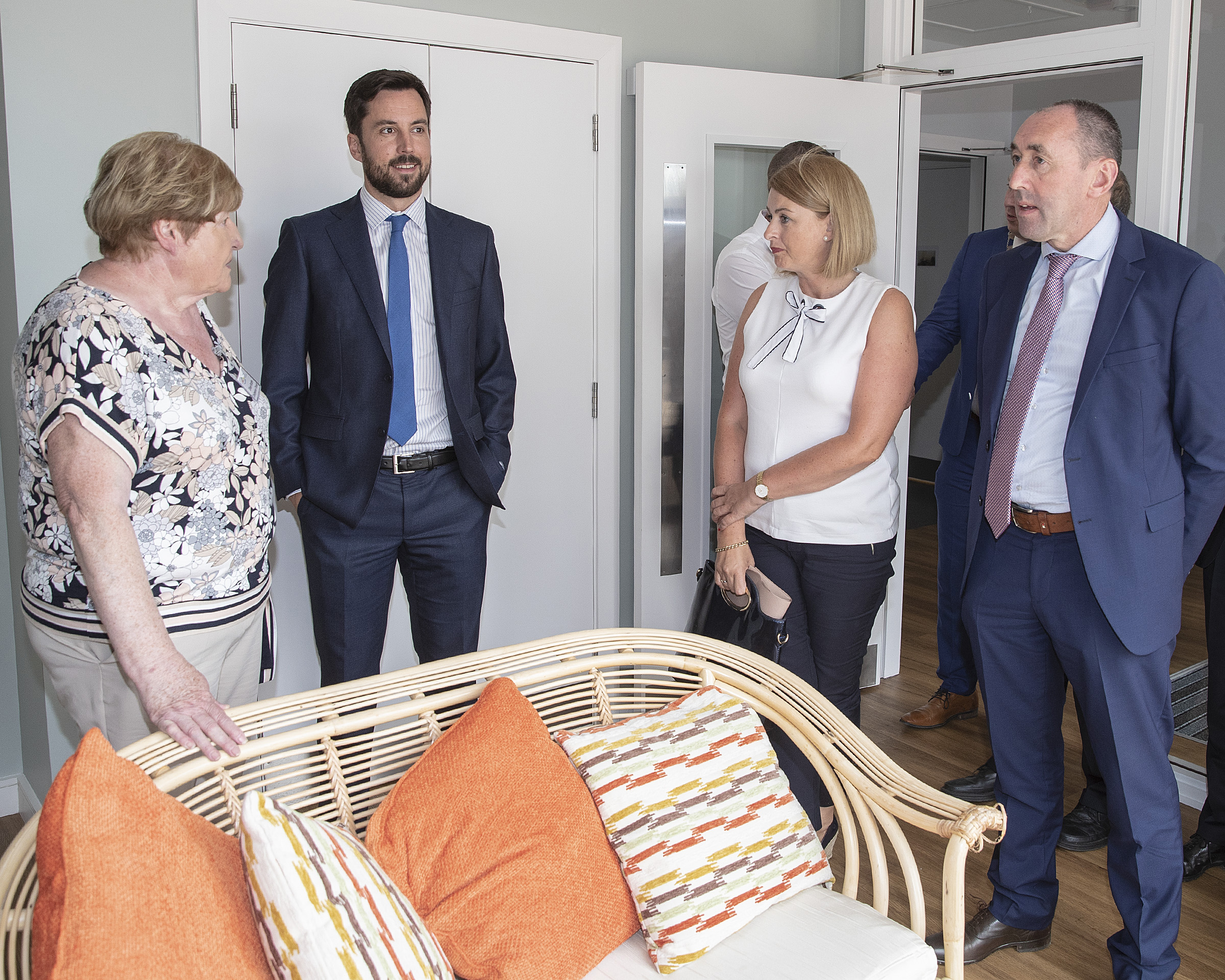Eileen Brophy Chairperson Tinteán shows Eoghan Murphy TD, Aoife Fitzgerald Disability Manager HSE Area 5 and Pat Deering TD around the Tinteán Willow residents. Photo: Thomas Nolan Photography.