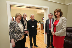 Eileen Brophy, Cllr. Willie Quinn, Jim Townsend, Frank Comerford and Tánaiste Joan Burton viewing our new home.
