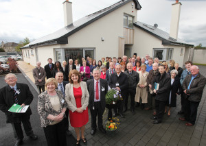 Group  with Tanaiste and Minister for Social Protection Joan Burton TD  Eileen Brophy Chairperson Tinteán and CEO Delta Centre and Turlough O'Brien CEO Tinteán  at the official opening of 11 Blackbog Grove Carlow . photo; Karl Mc Donough